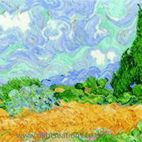 Van Gogh A Wheatfield With Cypresses Cross Stitch Kit
